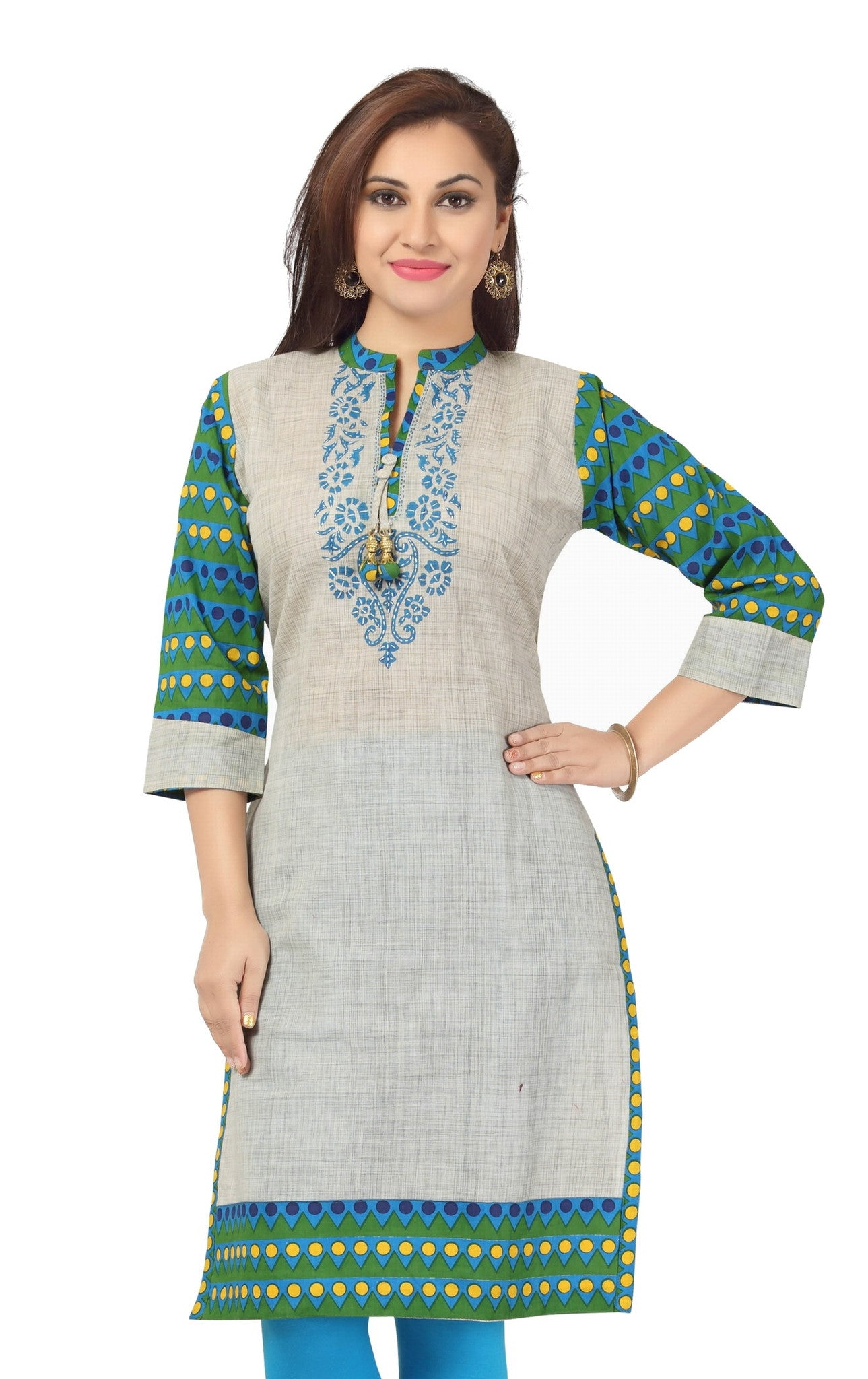 Grey grace long cotton tunic with printed design cotton fabric - Boutique4India Inc.