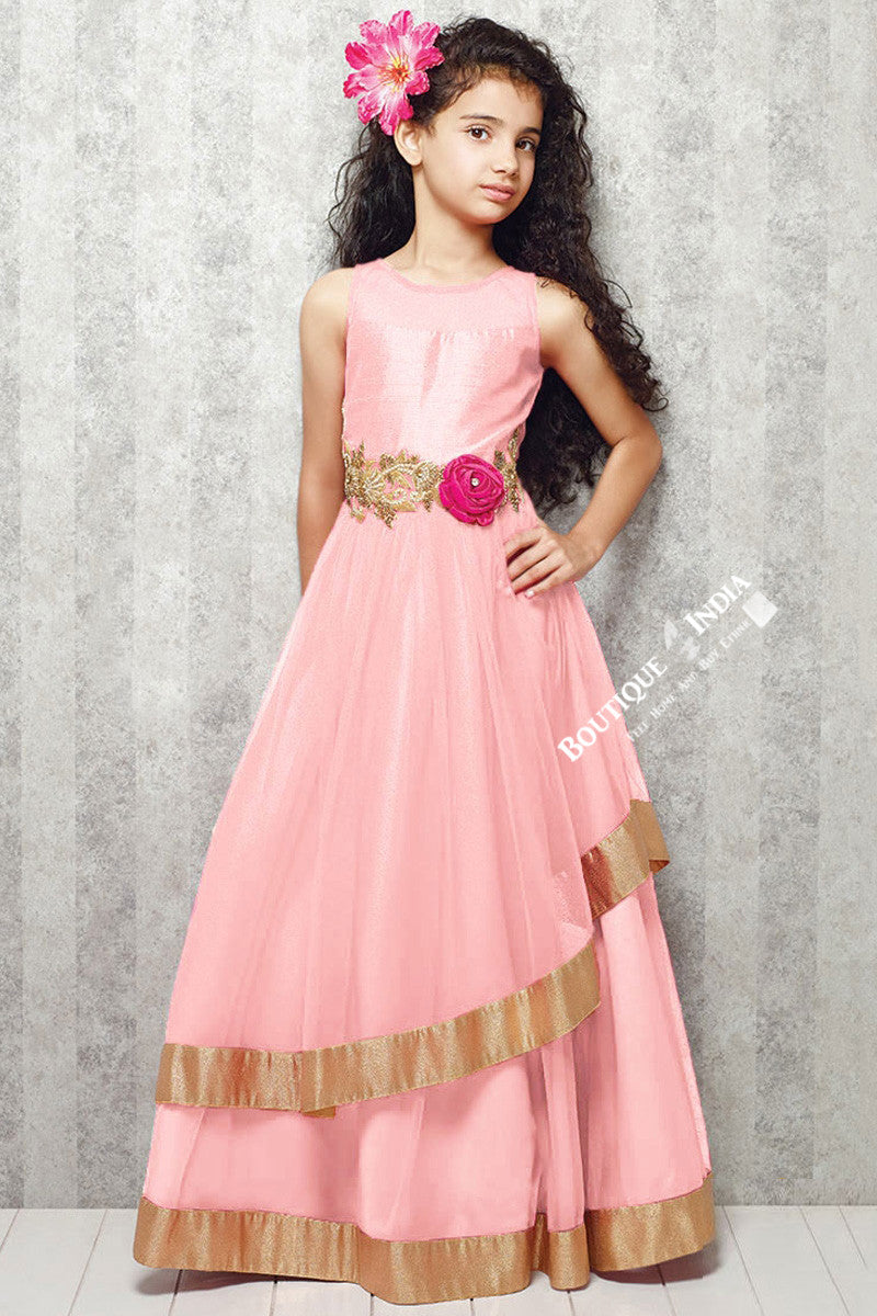 Girl's - Light Pink And Golden Casual Gown/Dress - Gilr's Casual And Party Collection Gowns - Boutique4India Inc.