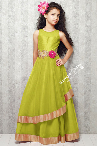 Girl's - Green With Golden Casual Gown/Dress - Gilr's Casual And Party Collection Gowns - Boutique4India Inc.