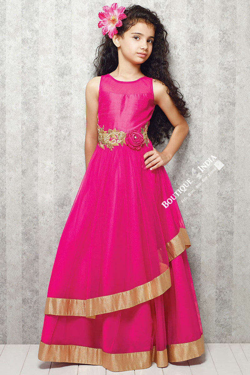 Girl's - Hot Pink And Golden Casual Gown/Dress - Gilr's Casual And Party Collection Gowns - Boutique4India Inc.