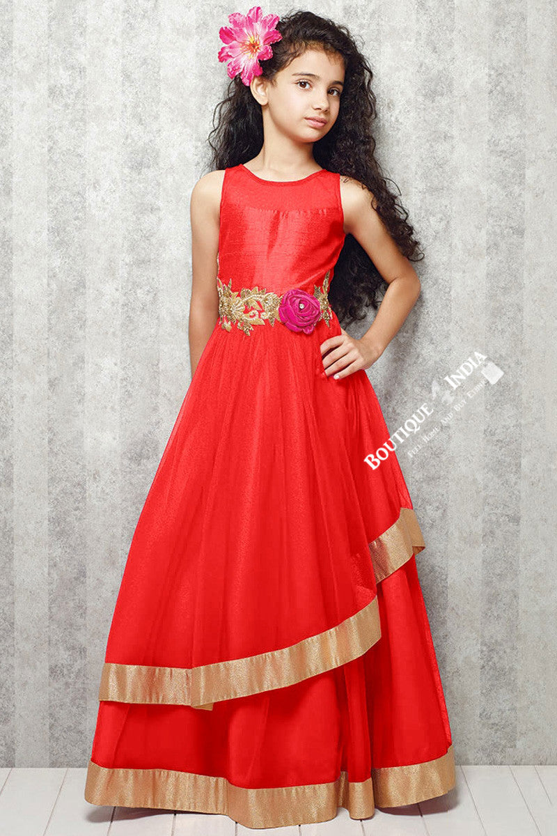 Girl\'s - Orange With Golden Casual Gown/Dress - Gilr\'s Casual And ...