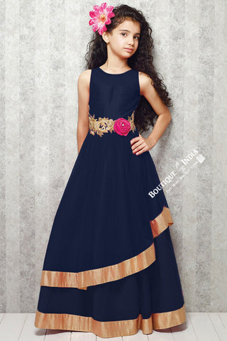 Girl's - Dark Blue With Golden Casual Gown/Dress - Gilr's Casual And Party Collection Gowns - Boutique4India Inc.