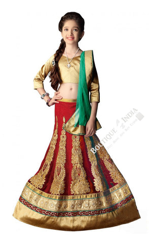 Girl's - Red, Green And Golden Heavy Work - Lehenga / Half Saree - Girl's Party And Wedding Collection Lehenga Set For Special Occasions -Semi Stitched, Blouse - Ready to Stitch - Boutique4India Inc.