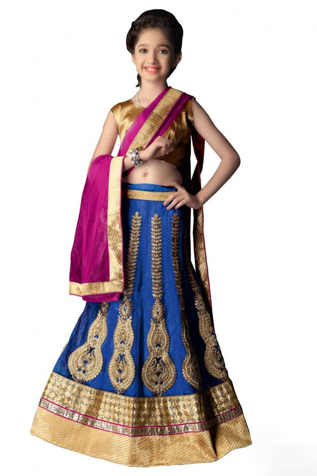 Girl's - Blue, Pink And Golden Heavy Work - Lehenga / Half Saree - Gilr's Party And Wedding Collection Lehenga Set For Special Occasions- Semi Stitched, Blouse - Ready to Stitch - Boutique4India Inc.