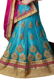 Girl's - Blue, Pink And Golden Heavy Work - Lehnga / Half Saree - Gilr's Party And Wedding Collection Lehnga Set For Special Occasions - Boutique4India Inc.