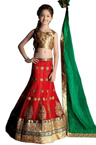 Girl's - Red, Green And Golden Heavy Work - Lehenga / Half Saree - Gilr's Party And Wedding Collection Lehenga Set For Special Occasions - Semi Stitched, Blouse - Ready to Stitch - Boutique4India Inc.