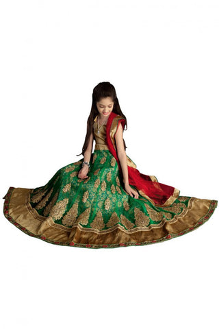 Girl's - Green And Golden Heavy Work - Lehenga / Half Saree - Gilr's Party And Wedding Collection Lehenga Set For Special Occasions - Semi Stitched, Blouse - Ready to Stitch - Boutique4India Inc.