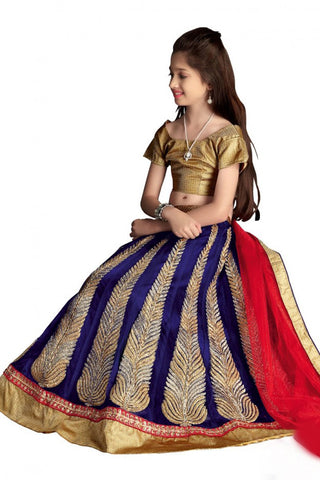 Girl's - Royal Blue And Golden Jarri Heavy Work - Lehenga / Half Saree - Gilr's Party And Wedding Collection Lehenga Set For Special Occasions - Semi Stitched, Blouse - Ready to Stitch - Boutique4India Inc.