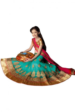 Girl's - Pink, Blue Heavy Work - Lehenga / Half Saree - Gilr's Party And Wedding Collection Lehenga Set For Special Occasions - Semi Stitched, Blouse - Ready to Stitch - Boutique4India Inc.