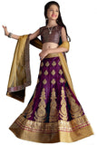 Girl's - Purple And Golden Heavy Work - Lehenga / Half Saree - Gilr's Party And Wedding Collection Lehenga Set For Special Occasions - Semi Stitched, Blouse - Ready to Stitch - Boutique4India Inc.