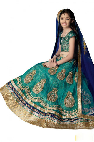 Girl's - Medium Sea Green Heavy Work - Lehenga / Half Saree - Gilr's Party And Wedding Collection Lehenga Set For Special Occasions - Semi Stitched, Blouse - Ready to Stitch - Boutique4India Inc.
