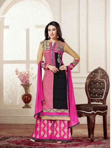 Heavy Work Designer Wedding Collection - Purplish Pink, Black And Golden Grand And Graceful Heavy Embroidery And Lace Work Unique Collection For Party / Wedding / Festival / Special Occasion - Ready to Stitch - Boutique4India Inc.