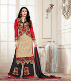 Heavy Work Designer Wedding Collection - Red, Black And Golden Grand And Graceful Heavy Embroidery And Lace Work Unique Collection For Party / Wedding / Festival / Special Occasion - Ready to Stitch - Boutique4India Inc.