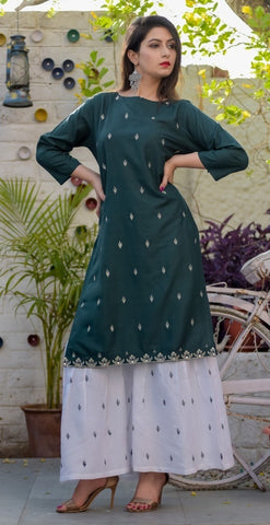 Rayon Straight Embroidery Kurti With Palazzo
