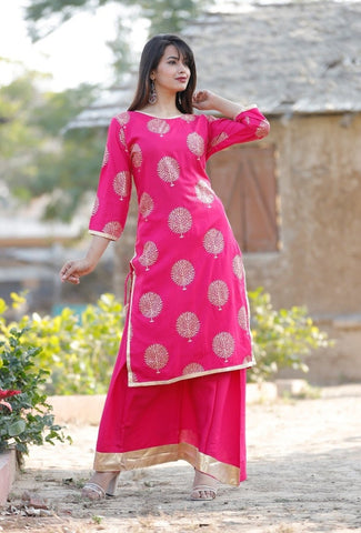 Maya - Rayon Gold Printed Kurti With Skirt