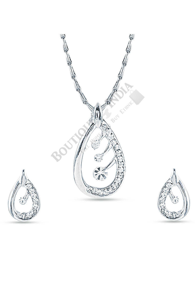 Silver-Tone Cystal Crested Tear drop Pendant Set - Boutique4India Inc.