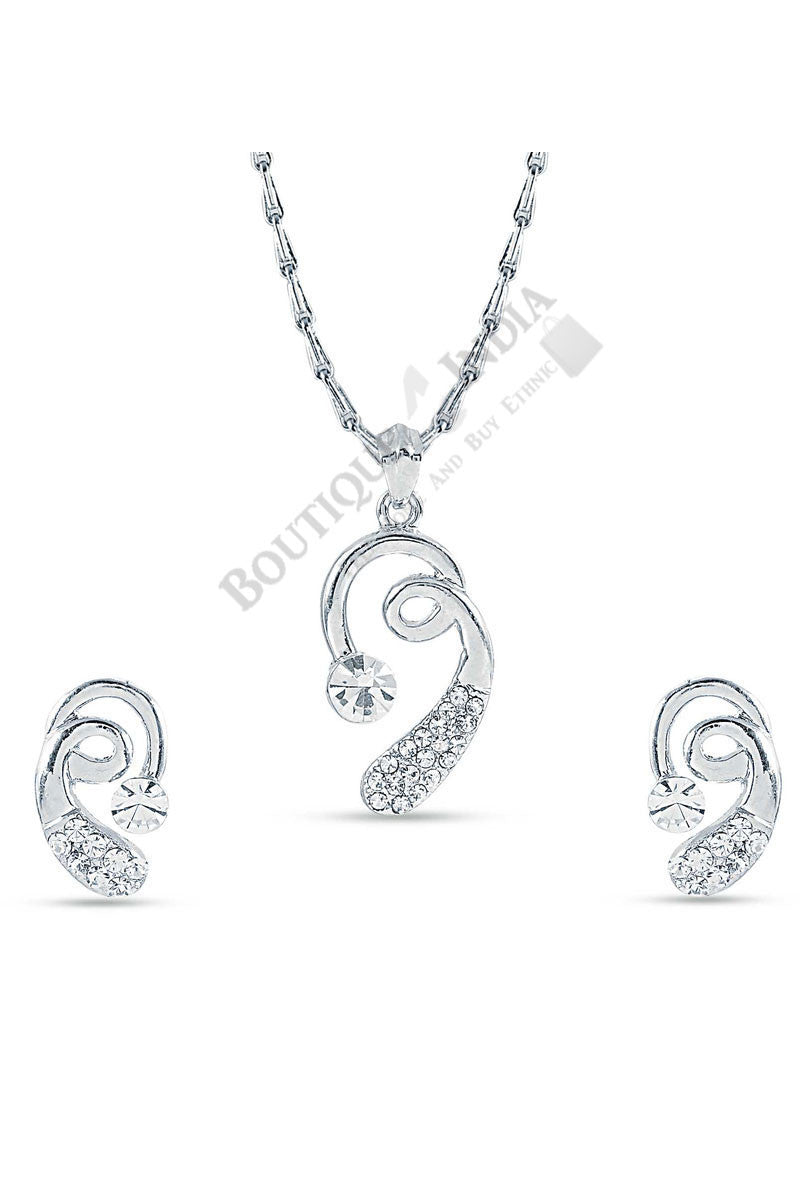 Silver-Tone Fun Shaped Pendant Set - Boutique4India Inc.