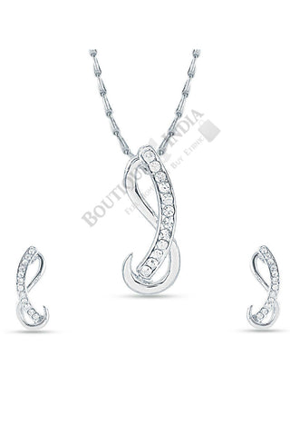 Silver-Tone Infiniti Shaped Pendant Set - Boutique4India Inc.
