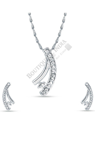 Silver-Tone Shooting Star Pendant Set - Boutique4India Inc.
