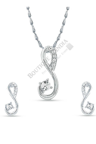 Silver-Tone Pendant Necklace Set - Boutique4India Inc.