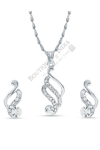 Silver-Tone Dancing Peacock Shaped Pendant Set - Boutique4India Inc.