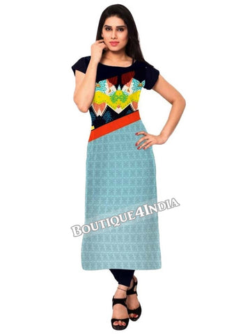 Multicolor floral  Crepe Casual wear Printed Kurti