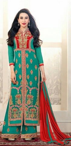 Heavy Work Designer Wedding Collection - Turquoise Blue, Velvet Red And Golden Grand And Graceful Heavy Embroidery And Lace Work Unique Collection For Party / Wedding / Festival / Special Occasion - Ready to Stitch - Boutique4India Inc.