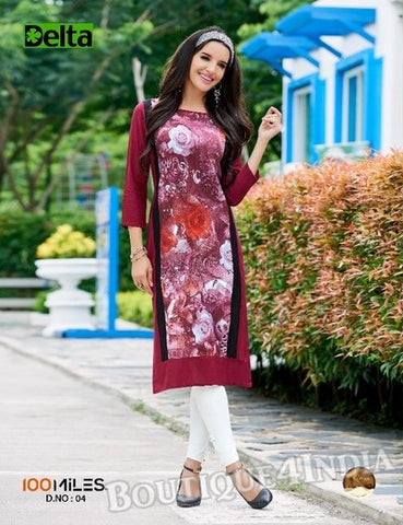 Maroon Self Design and printed Cotton Kurti