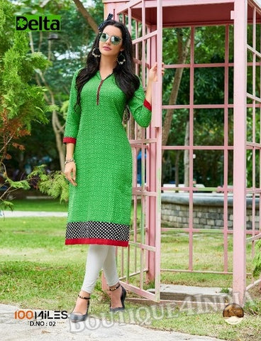 Green Self Design and printed Cotton Kurti