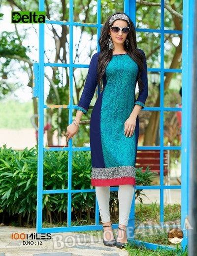 Turquoise & Navy Self Design and printed Cotton Kurti
