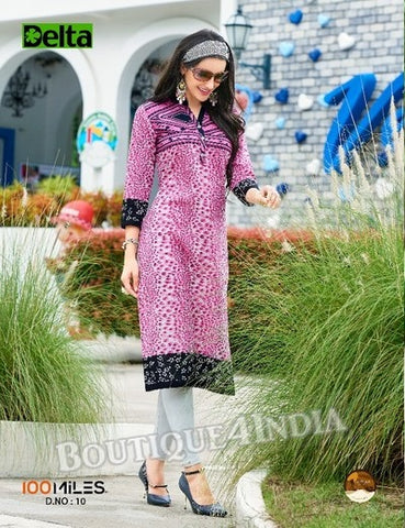Lavender Self Design and printed Cotton Kurti