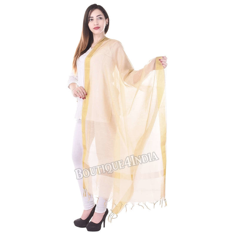 Chanderi Silk Golden Dupatta