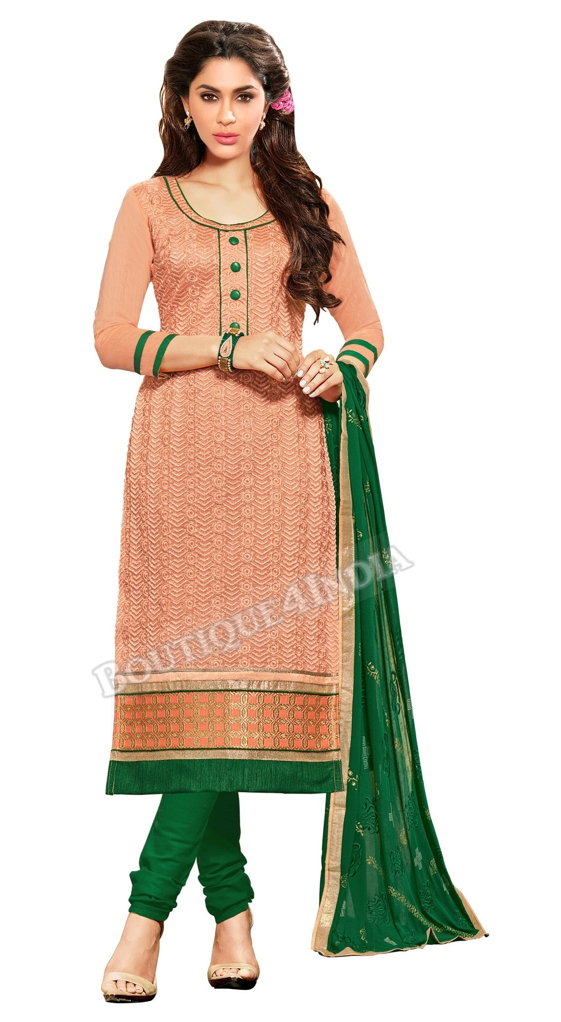 Peach Color Embroidered Chanderi Straight Cut Salwar Suit