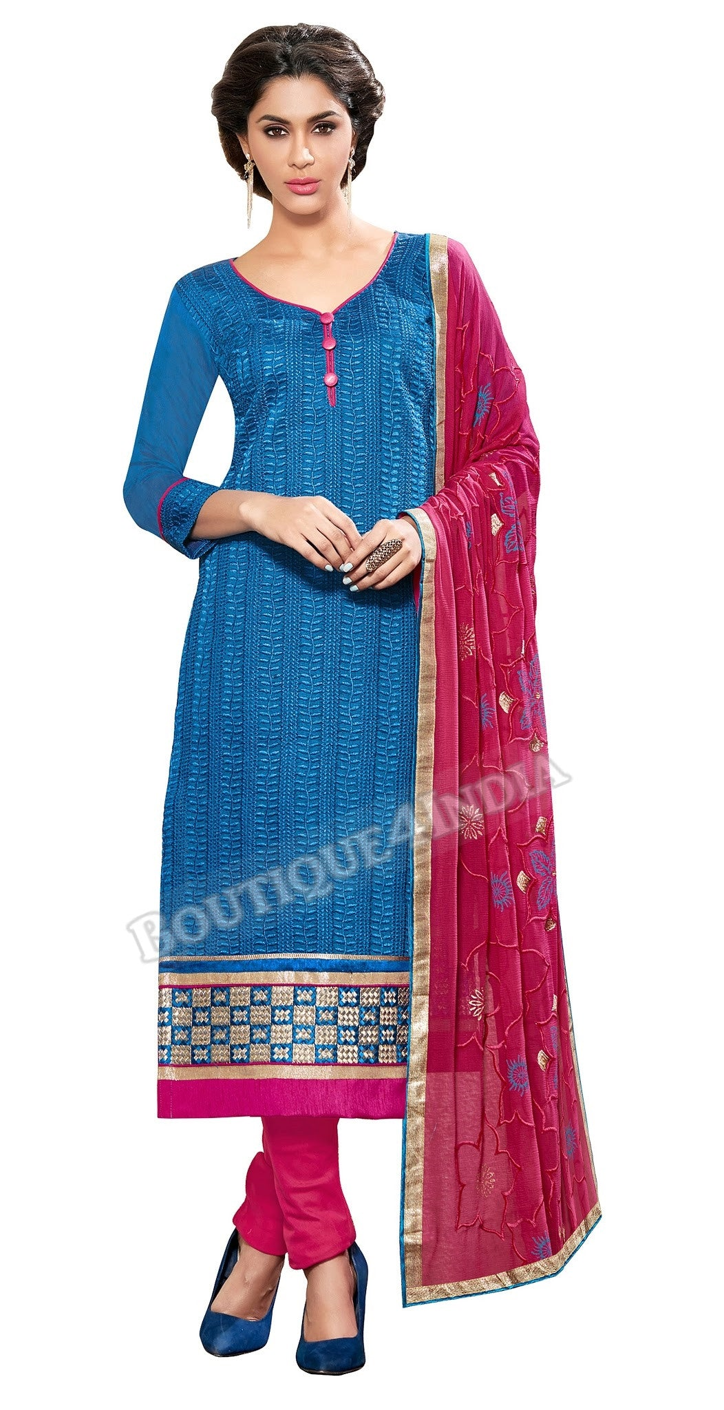 Light Blue Color Embroidered Chanderi Straight Cut Salwar Suit