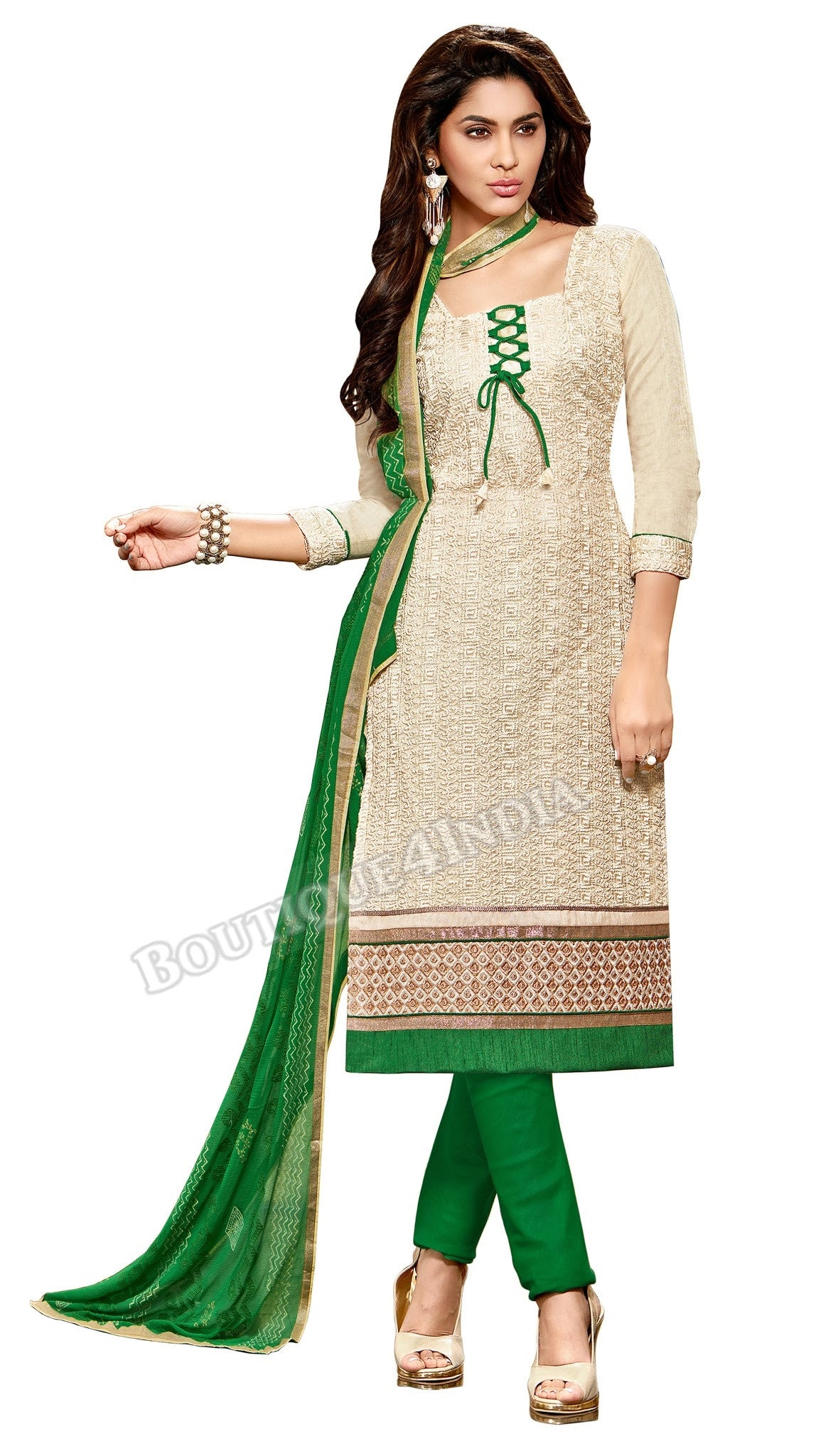 Cream Color Embroidered Chanderi Straight Cut Salwar Suit