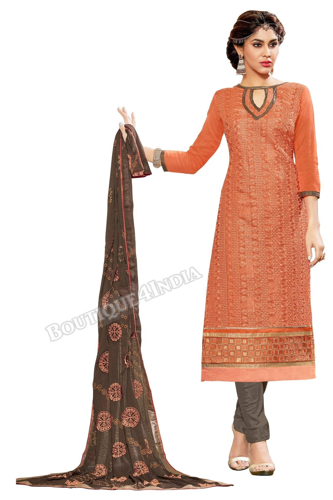 Orange Color Embroidered Chanderi Straight Cut Salwar Suit