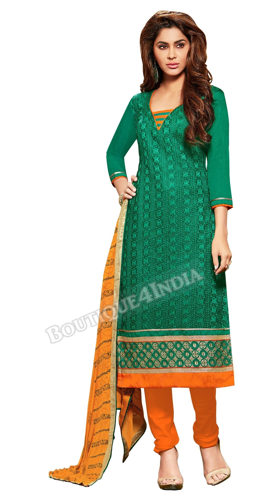 Green Color Embroidered Chanderi Straight Cut Salwar Suit