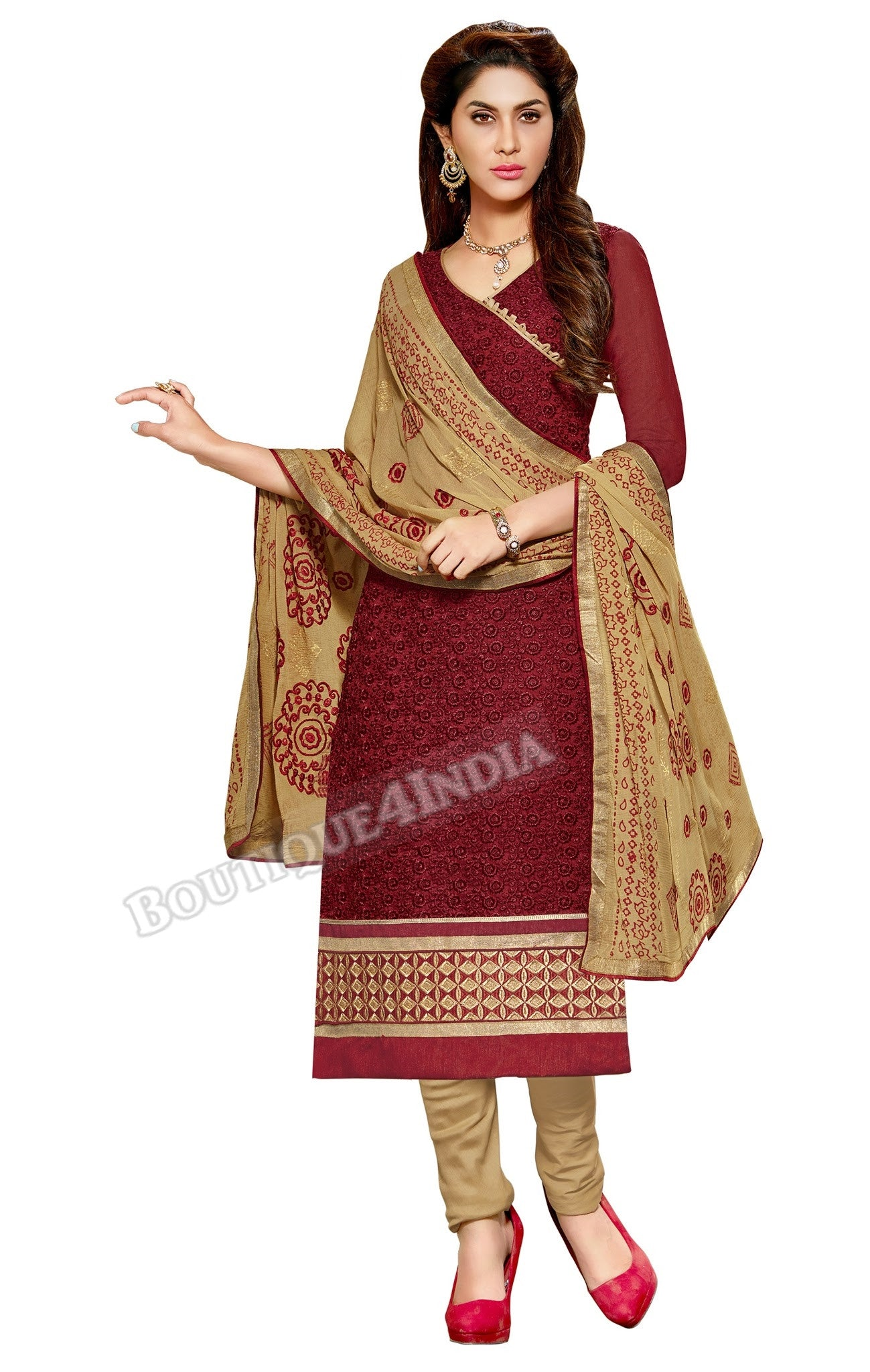 Maroon Color Embroidered Chanderi Straight Cut Salwar Suit