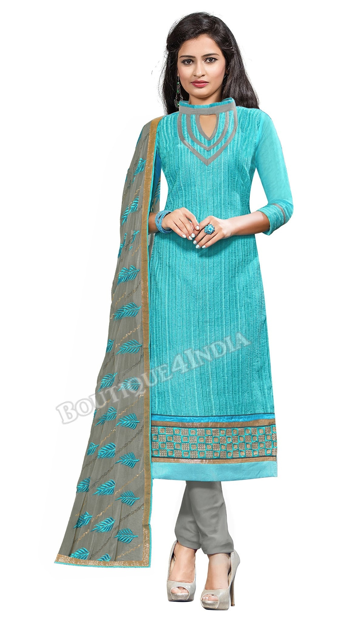 Sky blue Color Embroidered Chanderi Straight Cut Salwar Suit