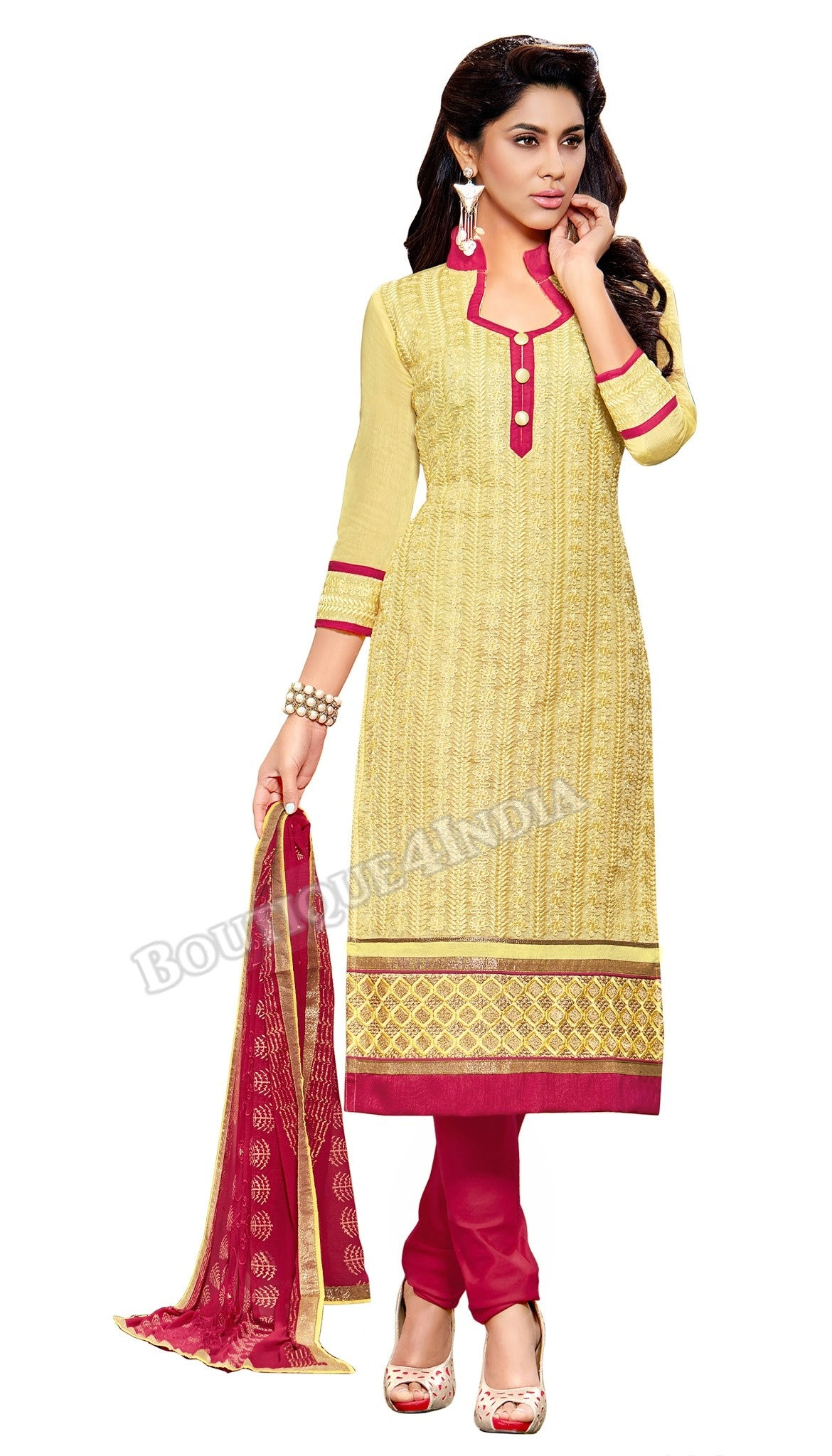 Light Yellow Color Embroidered Chanderi Straight Cut Salwar Suit