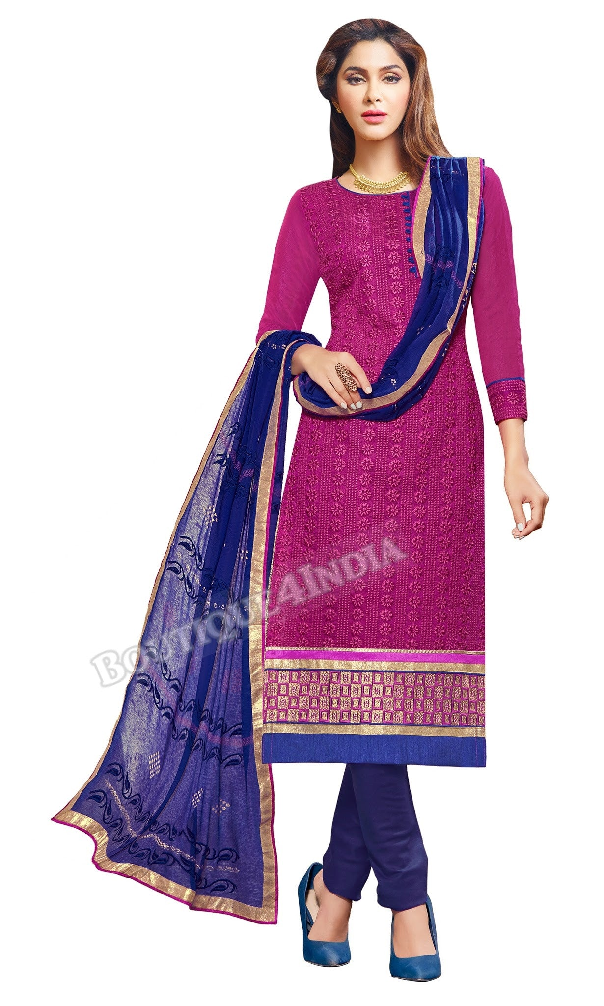 Purple Color Embroidered Chanderi Straight Cut Salwar Suit