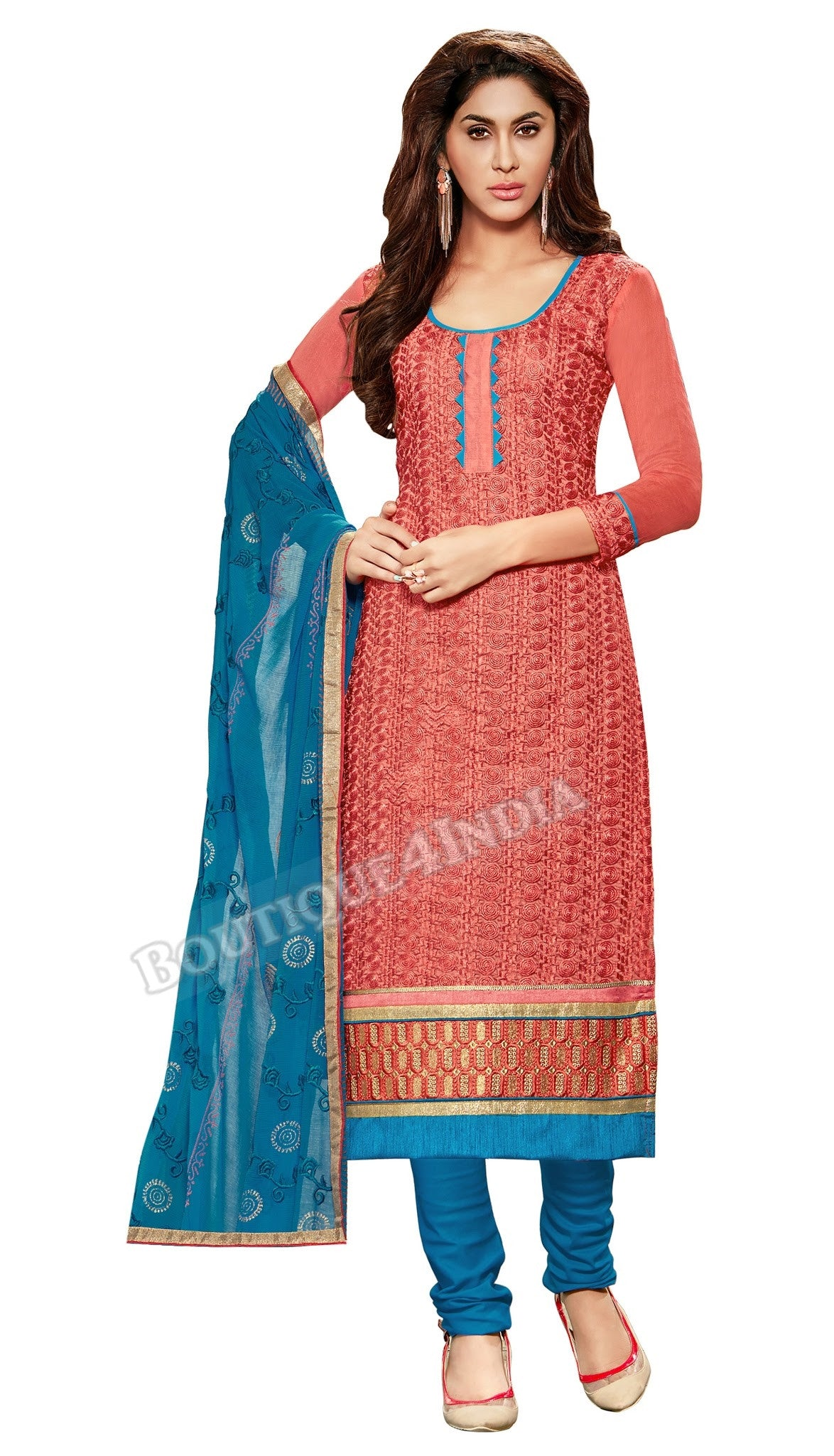 Bronze Color Embroidered Chanderi Straight Cut Salwar Suit