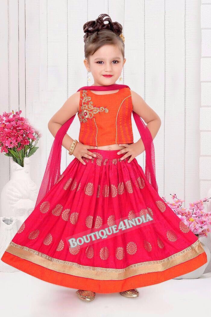 Girl's Orange and Pink Lehenga Choli