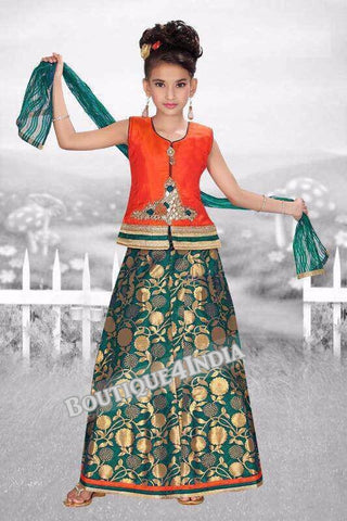 Girls Orange Crop top and green lehenga