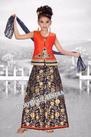 Girls Orange Crop top and blue lehenga