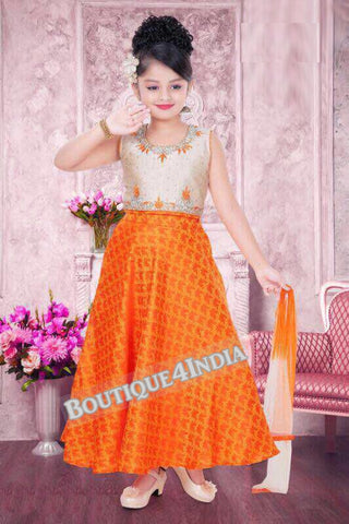 Girls Orange and cream Lehenga suit