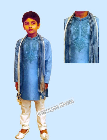 Boys sky blue Satin Kurta Pyjama