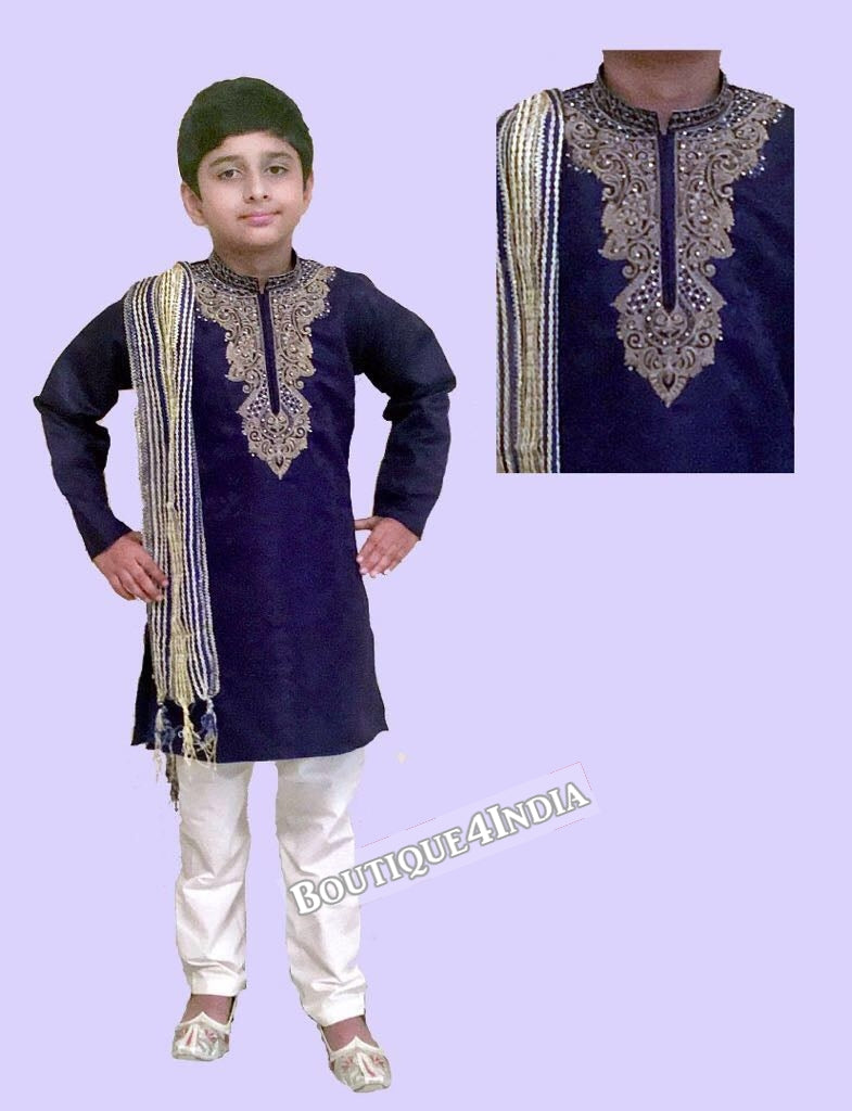 Boys Navy blue Satin Kurta Pyjama