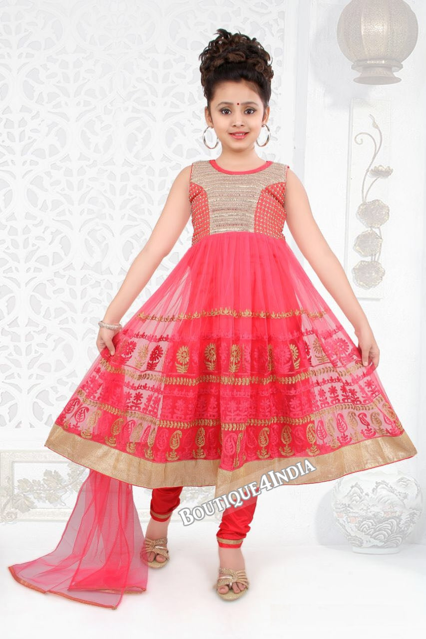 Girls watermelon color embroidered Churidar Suit