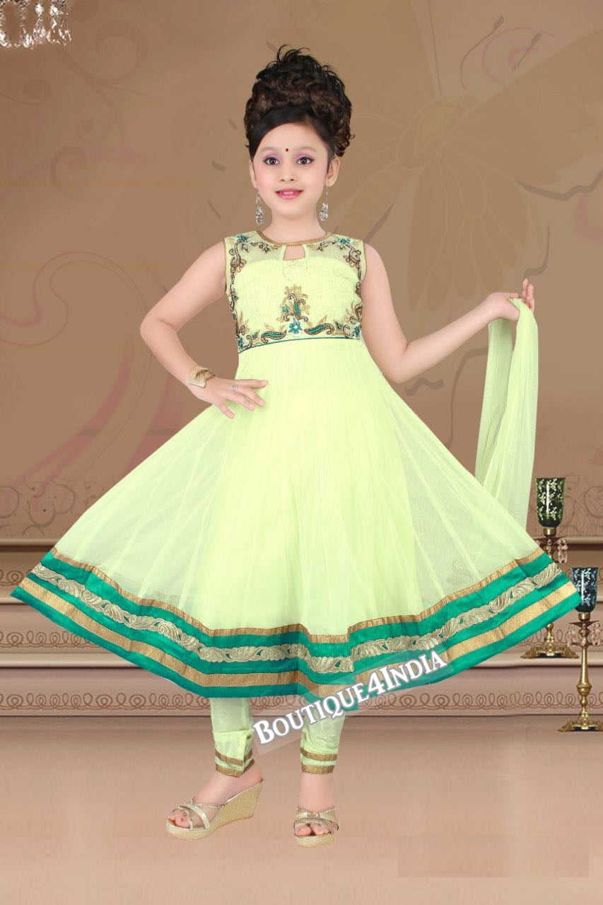 Girls Lime color embroidered Churidar Suit